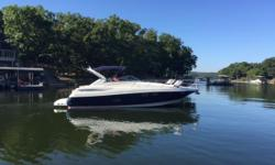 This 2004 Regal 3560 Commodore is in excellent overall condition and turn key ready to go.  She has low hours on her twin Volvo 420 hp engines, and she cruises effortlessly in the mid 20's.  She has two cabins, one head with shower, and a well