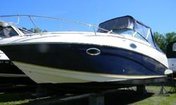 The Rinker line of boats offers this nice pocket cruiser, the 250 Fiesta Vee. It is powered by the 5.0 MPI Mercruiser with the Bravo III outdrive. This boat features the two tone blue hull side option.and comes with the full canvas package which includes