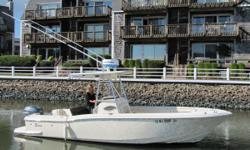 Scout continues its push offshore with this 235 Sportfish. With a fuel capacity of 145 gallons and a power rating of 250 hp, the 235 has the range and muscle to reach blue water, while the functional center-console design provides room to maneuver.