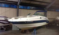 2004 Sea Ray 240 Sundeck powered by a MerCruiser 5.0L MPI Bravo 3 delivering 260 HP. This boat is a freshwater GEM with only 275 hrs. Features include Snap-In Carpet, Swim Platform, Head, Bimini Top, Trim Tabs, Depth Finder, Ship to Shore Radio, Stereo,