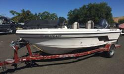 Great boat with nice options. The boat we have in stock is powered by a Yamaha 150hp 4-stroke motor. The options on the boat include a Humminbird fish finder/GPS, Minn Kota bow mount, mooring cover, and a customer trailer with a swing tongue and spare