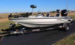 """2004 Stratos 285, 18'6"""" White and silver with charcoal carpet and matching seats. Lowrance X51 in dash, dual Pro XL charger, 6"""" jackplate, keel guard and Mercury 150hp XR6 V6 motor. Completely serviced by our Marine Tech with all new rings, bearings,"""
