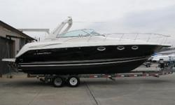 2005 Monterey 322 CR The forward-raked radar arch cuts an eye-catching profile on this contemporary classic. Sleek, sophisticated and stylish, Montereys 322 Cruiser is all that and more. The stylish helm offers a split three-person bench seat. When it's