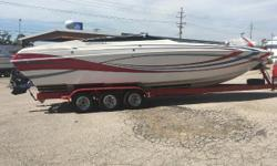 2005 Advantage 340 Offshore, Twin 496 HO, bravo XR drives, bravo 1 26 pitch props, (330 hours - 72 mph) hydraulic steering, rear ladder, electric engine hatch, Dana Marine tabs, mechanical drive/tab indicators, electric cabin door, bimini top, marine