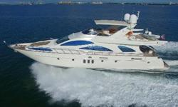 This fine 80 Azimut Yacht is the first hull built with prop tunnels reducing her draft to less than 6'. She has accommodations for 8 in four staterooms that feature ensuite heads. The master stateroom and VIP have queen berths, guest cabin 3 stateroom has