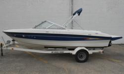 2005 Bayliner 185 equipped with Mercruiser 4.3 L 190 hp inboard/outboard motor. Boat includes bimini top, extended swim platform, rear ladder, depth finder, radio and single axle trailer with swing tongue and brakes. 8 person capacity. Please call before
