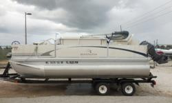 2005 Bennington 165 Si Fish and Cruise Pontoon Boat is 16.5 feet in length. Features include Lowrance X52 DF/FF, AM/FM/CD Radio system with Speakers, Minn Kota Deck Hand DH40 Electric Anchor, Bimini Top, 2 Fishing Seats on the Bow and 1 Fishing Seat on