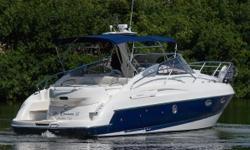 Beautiful Sports Cruiser Mediterranean style. Twin Volvo Diesel285 HP. Only 280 hours. Bow Thruster, New Generator, Air Conditioning, Garmin GPS/Plotter/Sounder. Auto Pilot. Sleeps 4. Stand up head w/shower. Full galley. Great family cruiser.
