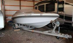 2005 Crownline 225 BR in Moonstone base with Moonrock accent with a Mercruiser 350 MAG (300 HP) and Bravo 3 sterndrive sitting on a custom color matched Prestige tandem axle trailer with brakes. Sold new here in 2005, this boat is in excellent condition