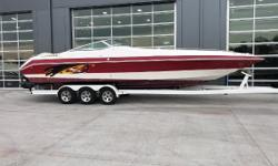 2005 Envision 32000 Intruder DLX, Twin Mercury 6.2MX (646 hours - 55 mph - recent compression test), bravo I drives, Mirage stainless steel 21 pitch props, Bennett dual ram trim tabs with indicators, rear stereo remote, ladder, U Shaped seating with