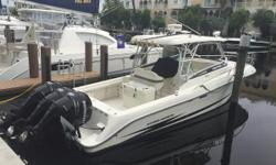 2005 33' Hydra Sports w/Trip Mercury Verado 250's with 805 hrs.  Outriggers, Raymarine E series Electronics, Digital TV, Cuddy Cabin with Galley/Head, and priced to sell! Nominal Length: 33' Length Overall: 33' Max Draft: 2.8' Drive Up: 2'