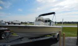 2005 Key West Bay 186 Reef is 18 feet 6 inches in length. Features include Upgraded Yellow color, Bimini Top, Lowrance Elite 7 Color DF/FF with GPS, Icon VHF Marine Band Radio, Kenwood AM/FM Radio system, Minn Kota Riptide I Pilot GPS Trolling Motor