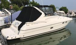 Sneak away on the weekends on this well maintained Regal 3560 Commodore! The cockpit was created to entertain with a large crescent lounge seat w/ removable cockpit table. A wet bar and refrigerator / ice maker also make for a great addition. Below decks,