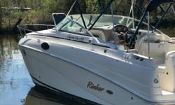 2005 RINKER 250 FIESTA VEE W/MERC 350 MAG HORIZON BIII/AC/WINDLASS/BIMINI-CAMPER/GPS/VHF/DF/MORE Here is the Rinker 250 Fiesta Vee, a perfect combination of cruising, overnighting or weekending all in a trailerable cruiser. This package is powered by the