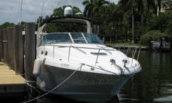 NEW ENGINES - NEW LARGER AIR COND - JUST DETAILED - JUST BOTTOM PAINTED ABSOLUTELY READY TO GO - NO WORRIES FOR A YEAR! Sea Ray 340 Sundancer, one of the most popular boats ever. This is a no brainer: new engines (less than 25 hours), new