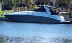 Pristine Condition and Continually Updated! This Sundancer has a beautiful air-conditioned Tommy Bahama custom interior featuring two staterooms, fully appointed galley, salon, and private head with stall shower. The pewter hull is waxed frequently and