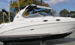 Just Reduced !!! 2005 Sea Ray 280 Sundancer, Powered By Twin Mercruiser Fresh Water Cooled 5.0 L MPI Bravo III's w/ Only 277 Hours, Exceptionally Clean & Well-Maintained One-Owner Boat - Needs Nothing !!! White Hull Color w/ Black Bootstripe, Arch Top,