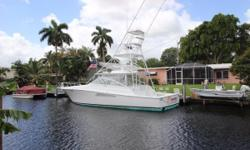 This 2005 Viking Express features Common Rail V-8s with 1,045 hours (1,000-hour service completedat a cost $21,000).She has an air conditioned helm deck with hardtop, electric teasers reels, outriggers, and new three-sided enclosure (May