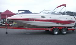 """This boat comes with a 5.0L Volvo Penta 220hp, tandem axle trailer with brakes, very clean and well maintained. Stock ID: U-auroraSpecs Length Overall (LOA): 21' 7"""" Category: Powerboats Water Capacity: 0 gal Type: Deck Boat Holding Tank Details:"""