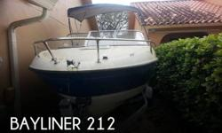 Actual Location: Miami, FL - Stock #064311 - If you are in the market for a cuddy cabin boat, look no further than this 2006 Bayliner 212, just reduced to $9,990.This boat is located in Miami, Florida and is in good condition. She is also equipped with a