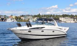 The Bayliner 320 SB Cruiser is one of the best boating values in her class, combining a spacious cockpit and cabin with sporty styling and good open-water performance. The cabin is big and open with a six-person settee that wraps around the forward