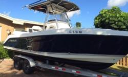 Turn key ready to go fishing with outriggers. Powered by the incredible Yamaha fourstroke with 560 hours. Just had full service. GPS, Fishfinder, VHF radio, stereo. Large console for enclosed head. Trailer included. Beautiful blue hull. BRING OFFERS !