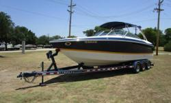 Navy w/ Yellow Boot Stripe, Twin Mercruiser 6.2 MX V8 Engines, 320 HP Each, 207 Hours, Bravo 3 Dual Stainless Steel Prop Drives, Captain's Call Exhaust, Extended Swim Platform w/ Ladder, Stainless Steel Arch w/ Bimini Top, Mooring Cover, Walk-thru Transom