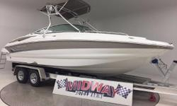 """Go to our web site for updated info: midwayautoandmarine. com. Over 75 used family boats in stock. All with warranty. Delivered all over the U.S. and Canada. Absolutely Sweet condition! 25"""" deck boat with a powerful 350 Mag MPI motor and Dual Prop"""
