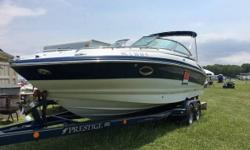 2006 Crowline 255 CCR ONE OWNER luxury and performance cruiser. Snap in Berber carpeting Full instrumentation tri-tech bolster bucket seats compass depth finder Sony marine stereo Garmin GPS shore power power Windlass galley with table converts easily to