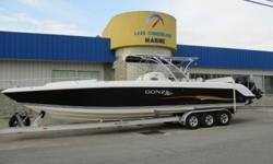 2006 Donzi 38 ZFXC ? Triple Mercury Verado 275hp ? Whipple Stage II Upgrades ? Stainless Steel 4-Blade Props ? Cuddy Cabin w/ Filler Cushion ? Triple Batteries w/ Charger ? Dual Bolster Seats ? Removable Large Yeti Bow Cooler ? T-Top w/ Canvas ? Remote