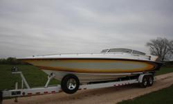 This outstanding 35 Lightning was the model that started it all for Fountain, and this model features the twin step configuration, allowing the boat to run in the 90's with stock power and reliability. Equipped with the Mercury Racing 525EFI and fresh