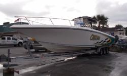 JUST REDUCED BY 10,000. 2006 Fountain 38 TE powered with Mercury Verados and ONLY 480 original hrs. No bottom paint. Boat has Raymarine C-120 Gps/Sonar/Map/Plotter and Radar, also includes a Garmin 172C, Stereo with marine speakers, Head in the