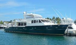 Well maintained cockpit motor yacht with 3 staterooms plus crew cabin Large owners full-beam suite VIP forward cabin twin guest cabin Spacious and bright salon with comfortable seating, storage, and large window area A chefs galley with full appliance
