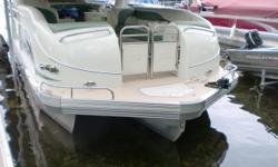The 306 is the flagship of the TriToon line. The boat is big enough for a large family and has great handling and acceleration. This boat has a full swim platform. There are 2 extra captain chairs in the middle of the boat. The 300hp Mercruiser stern