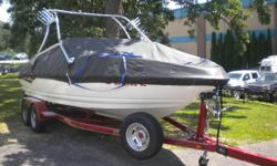 This one owner boat is super well equipped and has low hours. Trades considered. CANVAS MOORING COVER(BLACK) DECK SKI TOW WALK-THROUGH WINDSHIELD ELECTRICAL BATTERY ELECTRONICS AM/FM CD PLAYER DEPTH FINDER STEREO LAYOUT FIBERGLASS FLOOR SNAPOUT CARPET