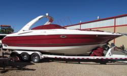 2006 Monterey 298 Sunsport with twin Mercruiser 350 Mag engines and Bravo Three dual prop outdrives. Very clean and well kept fresh water only boat with only 333 hours. Great Lake Powell boat options include full head with vacuflush toilet, Automatic