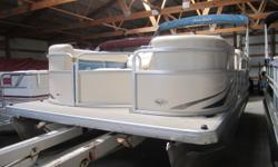 Very clean and well maintained pontoon boat with Mercury 40HP fourstroke motor. 387 hours. Everything is in good clean condition. This one owner boat has been professionally maintained and stored inside since new. The cover is newer. All the upholstery