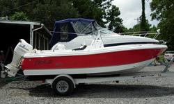 19 Ft Center Console, 2005 140 HP Johnson 4-Stroke, Bimini Top, Full Boat Cover, Garmin 178C GPS/ Fish finder Combo Unit, SS Prop, Swing Back Cooler Seat, Bow and Jump Seat Cushions, 2005 Magic Tilt Aluminum Trailer, Above Average Condition Beam: 8 ft. 1