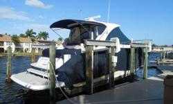 Great Express Cruiser with all the options: (2) Stateroom, (2) Heads, Hardtop with Complete Enclosure, Cockpit Air Conditioning, SeaKey Security System, Dual Raymarine E120 GPS/Chart/Radar. Powered with Twin V-Drive Volvo Penta Diesels with only 575hrs.