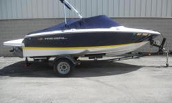 REGAL'S PERFECT BOW RIDER WITHOUT BREAKING THE BANK. THIS BOAT WILL GIVE YOU HOURS OF ENJOYMENT OUT ON THE WATER. SKIING, TUBING OR JUST PLAIN CRUSING. THIS BOAT WILL DO IT ALL.OPTIONS INCLUDED: BOW AND COCKPIT COVER, SNAP IN CARPET,BIMINI TOP,IN DASH