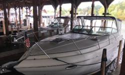 This well-equipped Rinker 320 Express Cruiser is a clean, fresh water only cruiser. No bottom paint and has spent its life entirely in fresh water. What makes this boat even more rare is the fact that it is Mercury powered. This model typically was Volvo