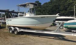 Has a Mercury 150 Verado 4 Stroke and Comes with 2013 EZ Loader Aluminum Trailer! Full Custom Cover T-Top Lowrance GPS/Sounder CD Stereo with Blue Tooth VHF Radio Livewells Rod Storage Space for Porti Potti Bow Cushion Stainless Steel Prop
