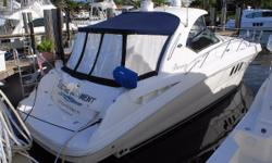 Low hour (258 hours), super clean example of Sea Ray's 380 Sundancer. T-8.1L , fresh water cooled Mercruiser Horizons, radar, gen, AC, Sat T.V, flat screens and more. All new Enclosure in 2013. Note: The camper canvas isinglass aft has