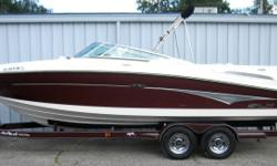 2006 Sea Ray 250 Select Executive BR (26?6? X 8?6?), MerCruiser 6.2L MPI 320 HP Bravo 3, ?07 Marine Master Tandem axle welded tube custom trailer with all disc brakes. This boat has 2 tone gelcoat graphics in Arctic White & Cinnabar. The cockpit floorplan