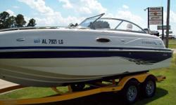Rig is in excellent condition. Upholstery perfect. Includes Hydraulic Steering, Bimini Top, Steel Prop, 2 - Boarding Ladders ( Front / Rear ), Docking Lights, Table, Compass, Sink, and Indash Depth Finder. Does Not Include Trailer.