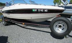 Located Saratoga Springs New York This boat is Mint . Two rod holders. Flag holder , Fish finder,Built in depth finder,Convertable top with sides and aft curtain, Bow and cockpit cover . Custom wheels and spare tire. Super clean. Our 185L bowrider is like
