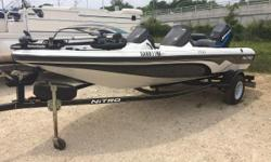 Just Arrived! 2006 Nitro NX 750 DC bass boat. Mint Shape!!! She is equipped with a Mercury Saltwater Series 90hp outboard with less than 100 hours. Also has a MotorGuide Pro series 4616 trolling motor with foot pedal. Three across seating with bow and