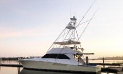 MAKARA is a 2006 74' Viking with a Palm Beach Tower, four staterooms, five heads, and twin 16V2000-2030 HP MTU's, with 2500 hours. She has a fighting Lady Yellow Hull, and is loaded with options such as an ice chipper, water maker, bow thruster, mezzanine