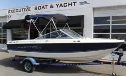 PRICE JUST REDUCED TO $11,400! MerCruiser 3.0L, 4-cylinder engine, no hour meter MerCruiser Alpha One sterndrive Single-axle trailer w/swivel tongue & surge brakes Bimini Bow cover Cockpit cover Vinyl floor Depth sounder Sirius radio Tilt steering wheel