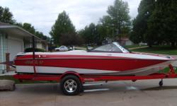 Monsoon 340 HP, Perfect Pass, stereo, 3 outlet heater, fiberglass swim platform, depth finder, travel cover, bimini top, MSST, Boatmate trailer w swing tounge and alloy wheels. Red and White. S.S. dash, glove box pylon and exhaust tips. 2 pair pull-up